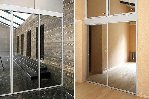 Двери для шкафов из стекла и алюминия купить в москве. изгот.